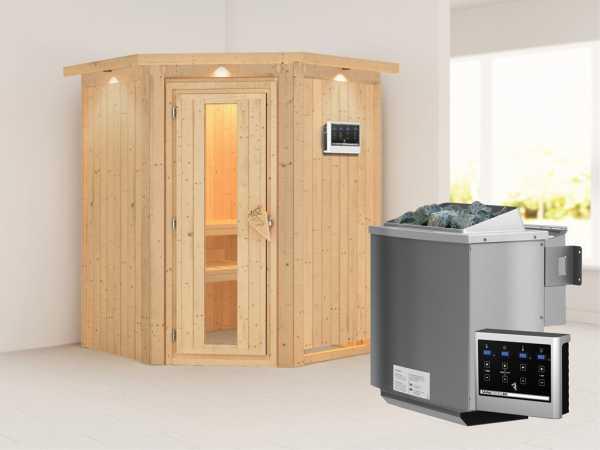 """Systemsauna """"Larin"""" mit Dachkranz, Holztür mit Isolierglas, inkl. 9 kW Bio-Kombiofen ext. Steuerung"""