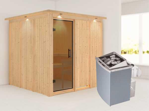 Systemsauna Rodin mit Dachkranz, graphit Ganzglastür, inkl. 9 kW Saunaofen integr. Steuerung