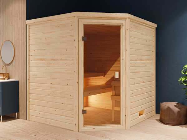 """Sauna Systemsauna """"Valida 6"""" bronzierte Ganzglastür inkl. 9 kW Saunaofen mit ext. Steuerung"""
