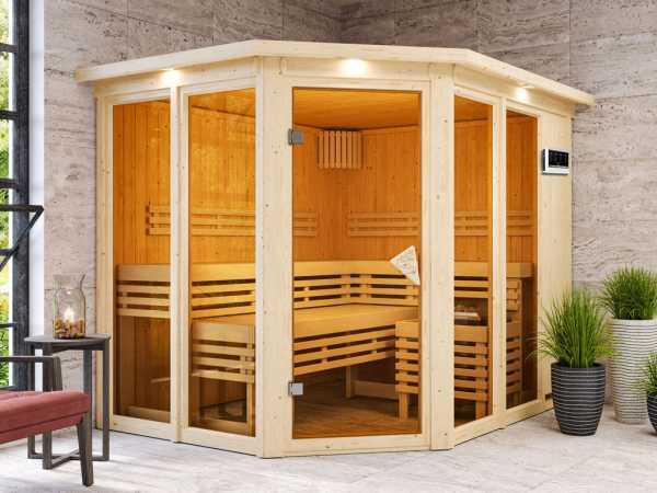 Sauna Ainur mit bronzierter Glastür und Dachkranz + 9 kW Bio-Kombiofen mit ext. Strg.