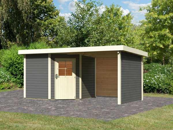 Gartenhaus SET Neuruppin 2 28 mm terragrau, inkl. 2,6 m Anbaudach + Seiten- und Rückwand