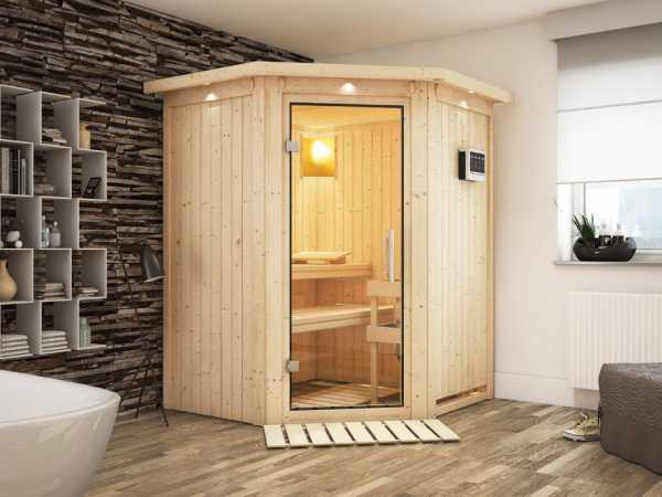 """Sauna Systemsauna """"Larin"""" mit Dachkranz, Klarglas Ganzglastür + 9 kW Bio-Kombiofen mit ext. Strg"""