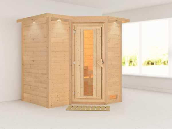 """Massivholzsauna """"Sahib 1"""" mit Dachkranz, Holztür mit Isolierglas"""