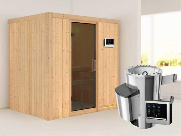 Sauna Systemsauna Fanja graphit Ganzglastür + Plug & Play Saunaofen mit externer Steuerung