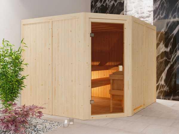 """Sauna """"Ystad"""" mit bronzierter Glastür"""