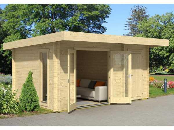 Gartenhaus Blockbohlenhaus Chameleon 44 44 mm carbongrau