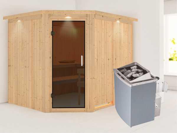 Systemsauna Malin mit Dachkranz, graphit Ganzglastür, inkl. 9 kW Saunaofen integr. Steuerung