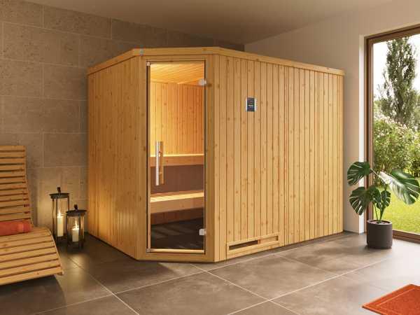 Sauna Systemsauna Varberg 4 mit graphit Glastür