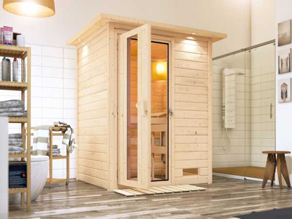 Sauna Massivholzsauna Nadja mit Dachkranz, Energiespartür
