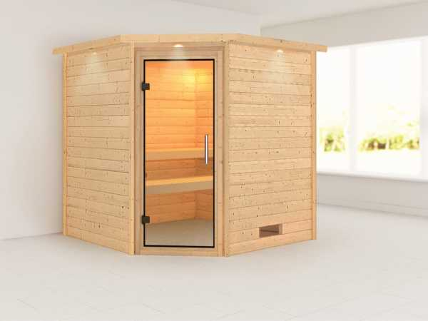 Sauna Massivholzsauna Nina mit Dachkranz, Klarglas Ganzglastür