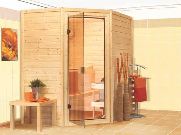 Sauna Massivholzsauna SPARSET Katie inkl. Plug & Play Bio-Ofen mit ext. Steuerung + Zubehör