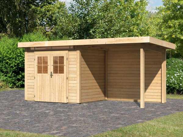 Gartenhaus SET Kerpen 1,5 28 mm naturbelassen, inkl. 2,6 m Anbaudach + Rückwand