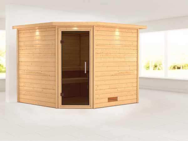 Sauna Massivholzsauna Leona mit Dachkranz, graphit Ganzglastür