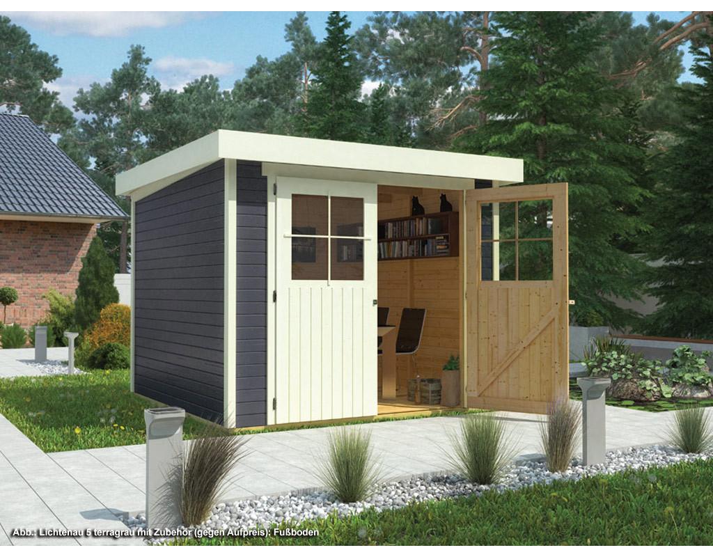 gartenhaus lichtenau 5 19 mm terragrau 761028. Black Bedroom Furniture Sets. Home Design Ideas