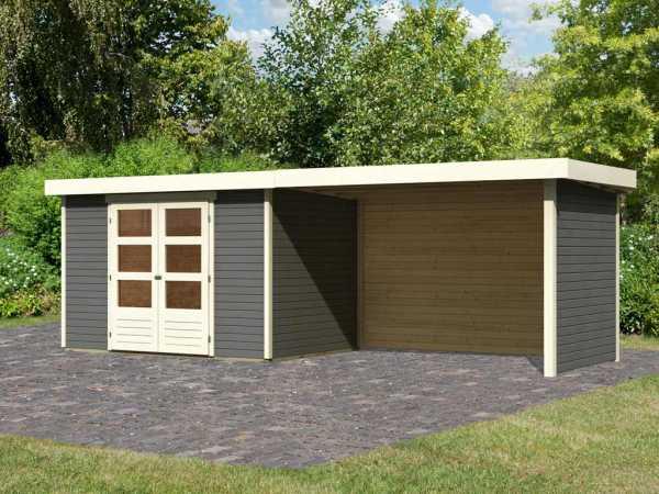"""Gartenhaus SET """"Askola 4"""" 19 mm terragrau inkl. 2,8 m Anbaudach + Seiten-/Rückwand"""
