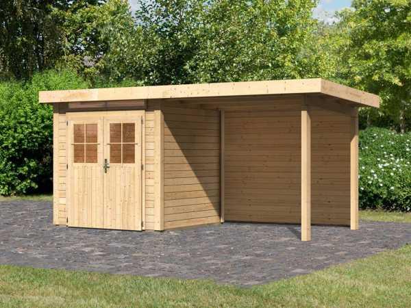 Gartenhaus SET Kerpen 1 28 mm naturbelassen, inkl. 2,6 m Anbaudach + Rückwand