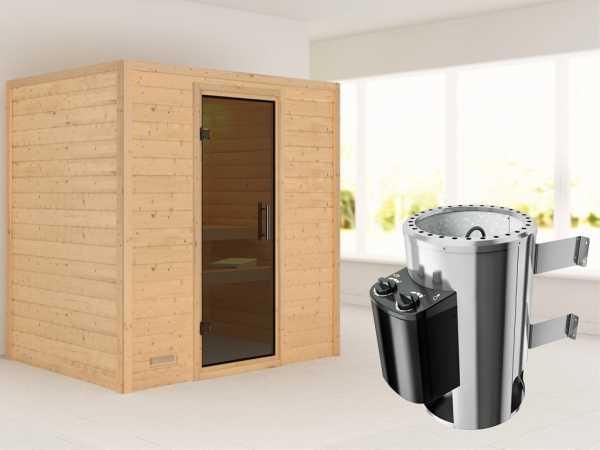 Sauna Massivholzsauna Ronja graphit Ganzglastür + Plug & Play Saunaofen mit Steuerung