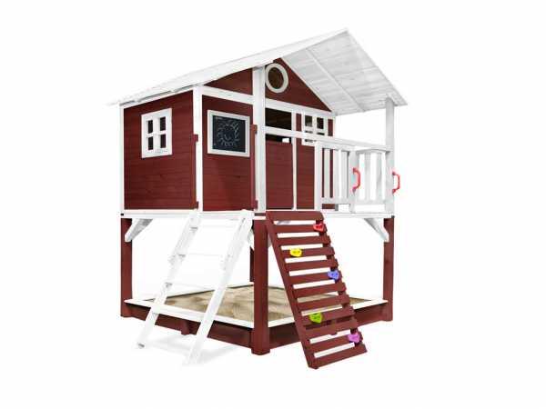 """Spielhaus Stelzenhaus """"Tobi"""" rot-weiß, inkl. Zubehör"""