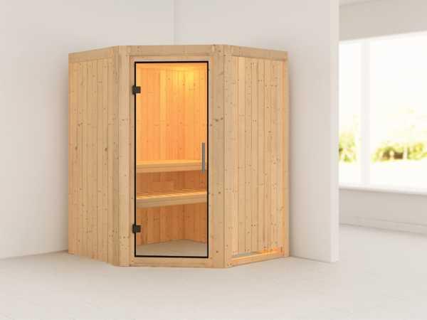 Sauna Systemsauna Nanja Klarglas Ganzglastür