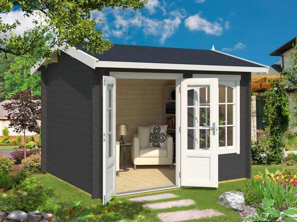 Gartenhaus Blockbohlenhaus Alex 44 mm carbongrau