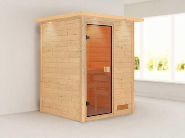 Sauna Massivholzsauna Svenja mit Dachkranz, bronzierte Ganzglastür