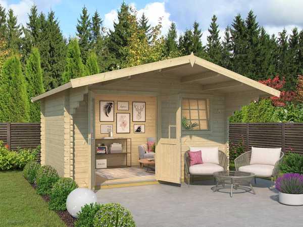 Gartenhaus Blockbohlenhaus Gotland 3E 40 mm naturbelassen