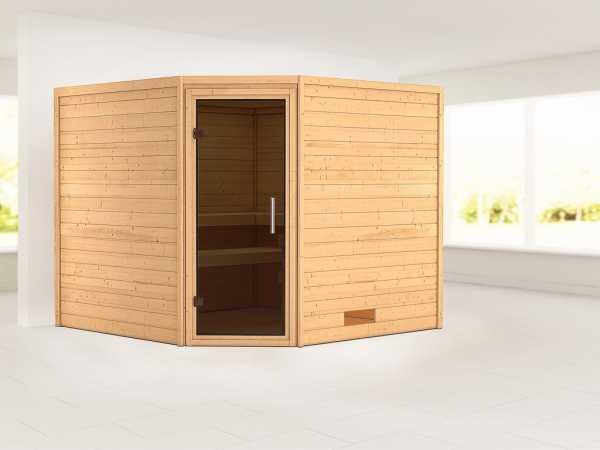 Sauna Massivholzsauna Leona graphit Ganzglastür