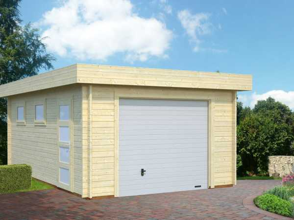 Garage Rasmus 19,0 m² mit Sektionaltor 44 mm naturbelassen