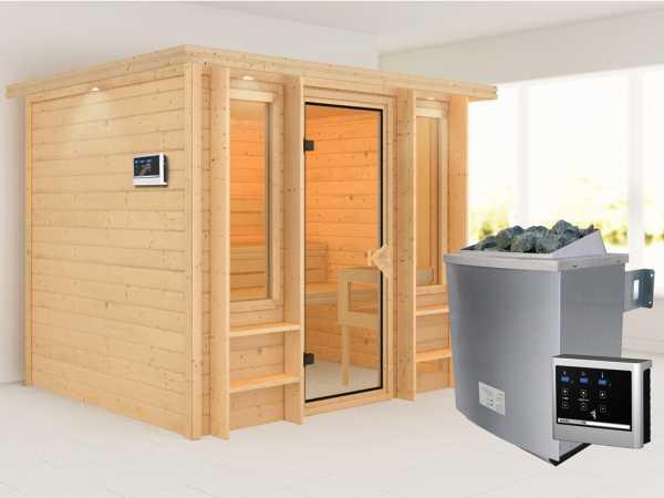 Sauna Ilona mit bronzierter Glastür + 9 kW Saunaofen ext. Strg.