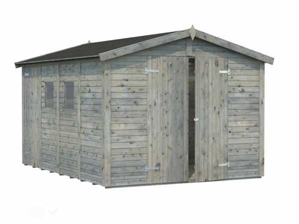 Gerätehaus Dan 10,0 m² 16 mm grau tauchimprägniert