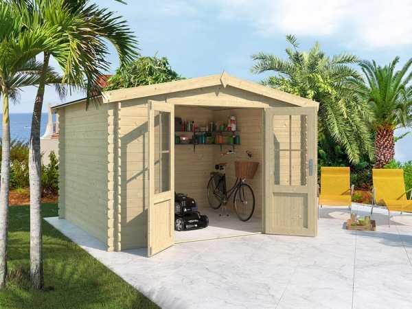 Gerätehaus Blockbohlenhaus Houston 28 mm naturbelassen