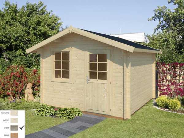 "Gartenhaus Blockbohlenhaus ""Laura"" 8,7 m² 28 mm grau tauchimprägniert"