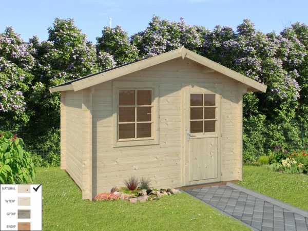 """Gartenhaus Blockbohlenhaus """"Laura"""" 6,9 m² 28 mm naturbelassen"""