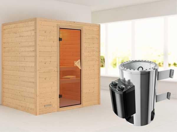 Sauna Massivholzsauna Ronja inkl. Plug & Play Saunaofen Steuerung