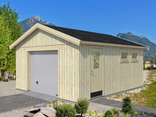 "Gartenhaus Blockbohlenhaus ""Andre"" 21,5 m² mit Sektionaltor 18+95 mm naturbelassen"
