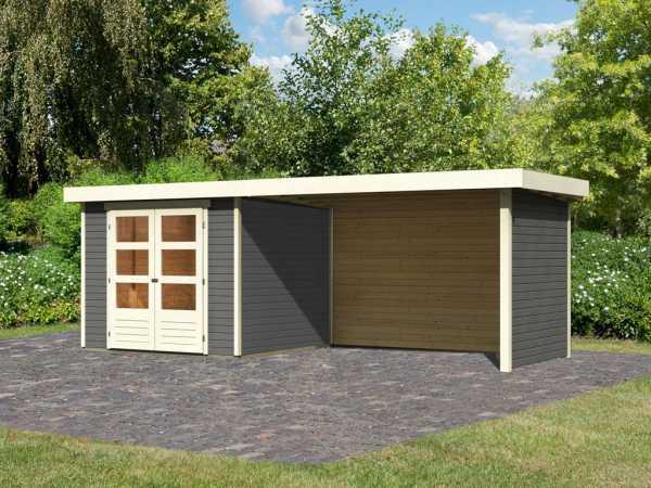 Gartenhaus SET Askola 3,5 19 mm terragrau, inkl. 2,8 m Anbaudach + Seiten- und Rückwand