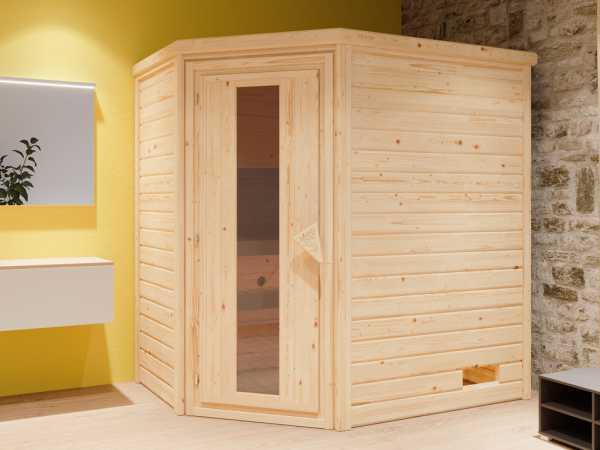 """Sauna Systemsauna """"Bergen 2"""" Holztür mit Isolierverglasung inkl. 9 kW Bio-ofen mit ext. Steuerung"""