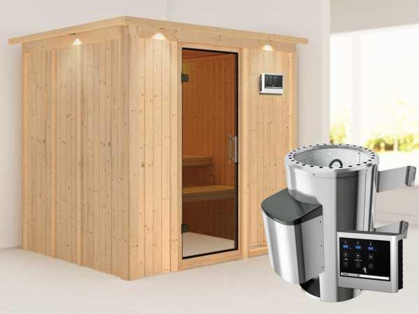 Sauna Systemsauna Daria mit Dachkranz, graphit Ganzglastür + Plug & Play Saunaofen mit ext.Strg