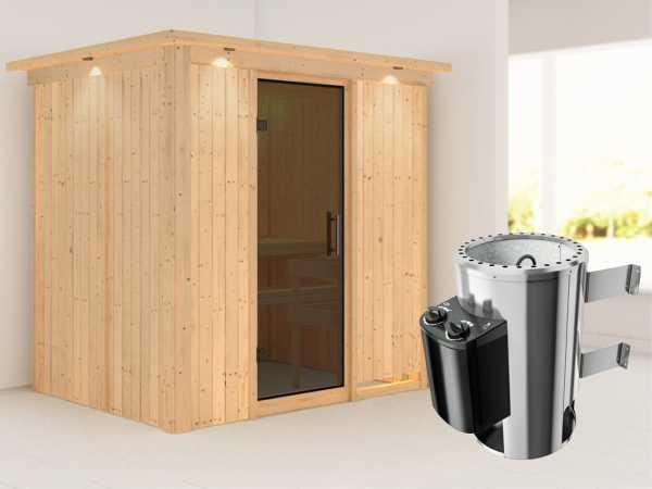 Sauna Systemsauna Fanja mit Dachkranz, graphit Ganzglastür + Plug & Play Saunaofen mit Steuerung