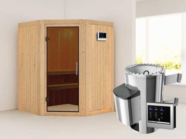 Sauna Systemsauna Nanja graphit Ganzglastür + Plug & Play Saunaofen mit externer Steuerung