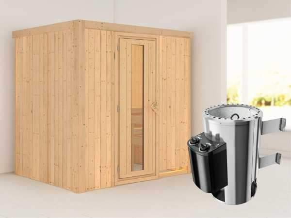 Sauna Systemsauna Fanja Energiespartür + Plug & Play Saunaofen mit Steuerung