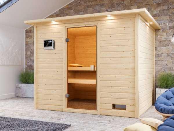 """Sauna """"Katja"""" mit bronzierter Glastür und Dachkranz + 9 kW Bio-Kombiofen ext. Strg."""