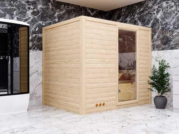 Sauna Massivholzsauna Premiumsauna Bruno Klarglastür