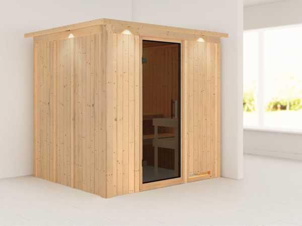 Sauna Systemsauna Daria mit Dachkranz, graphit Ganzglastür