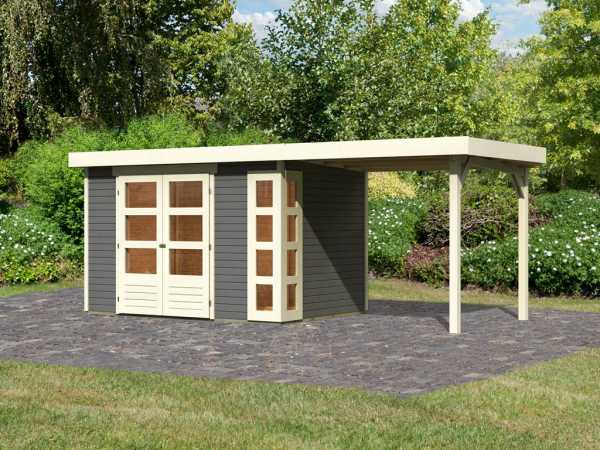 Gartenhaus SET Kerko 4 19 mm terragrau, inkl. 2,4 m Anbaudach