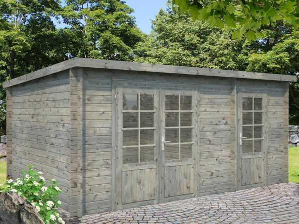 Gartenhaus Blockbohlenhaus Ella 13,1 m² 28 mm grau tauchimprägniert
