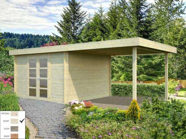Gartenhaus Blockbohlenhaus Elsa 9,6+8,1 m² 28 mm transparent tauchimprägniert