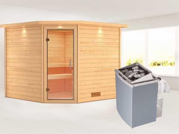 Sauna Massivholzsauna Leona mit Dachkranz, Klarglas Ganzglastür + 9 kW Saunaofen mit Steuerung