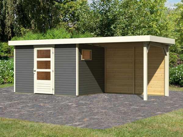 Gartenhaus SET Oburg 4 19 mm terragrau, inkl. 2,8 m Anbaudach + Rückwand