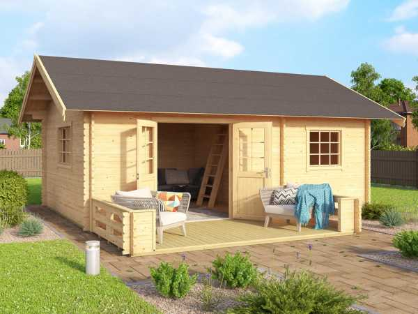 Terrasse für Gartenhaus Caroline carbongrau